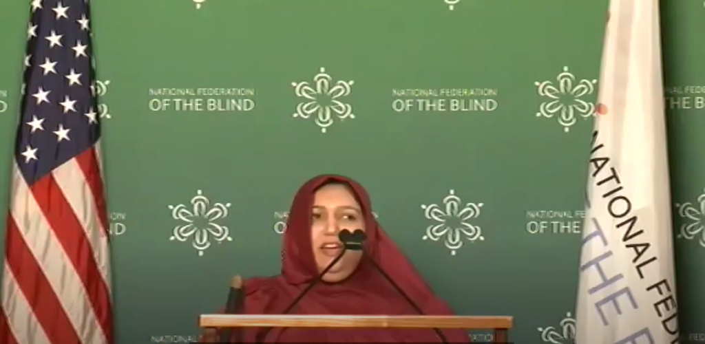 Mariyam Cementwala speaking virtually at the National Federation of The Blind Video Conference